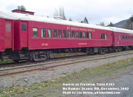 American Freedom Train Car 203 ex Reading 1327, Permacel Express, Springmaid Special, Preamble Express, BC Rail Resolution, Mt Rainier 322