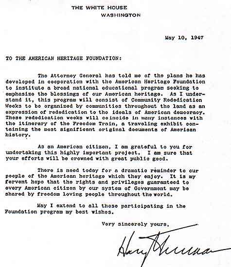 Freedom Train letter from Harry Truman